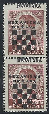 CROATIA/NDH/KROATIEN, 2nd Provisionals, 3D fine mint pair with OVERPRINT SHIFTED