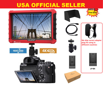"Lilliput A7s 7""1920x1200 4K HDMI DSLR Camera field monitor w/F970+LP-E6+AC ADA"