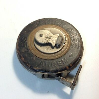 Vintage / Antique Rare German Made AHREM Leather cased Steel Tape Measure