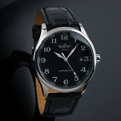 Mens Watch Automatic Black Dial Silver Leather Strap 3 Hands Date Simple Luxury