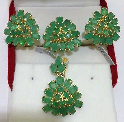 14k Solid Yellow Gold Genuine Emerald Ring,earring And Pendant Set. Weight ~9.50