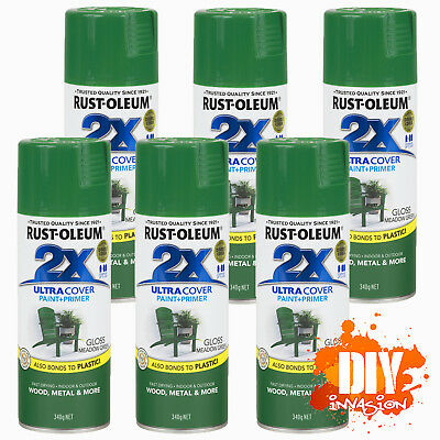 Rust-Oleum 2X Ultra Cover Gloss Meadow Green Spray Paint+Primer x 6 Value Pack