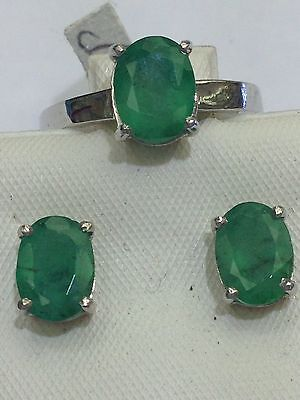 14K Solid White Gold Genuine Emerald Ring,Earring Set. Free Resize. Emerald 4 Ct