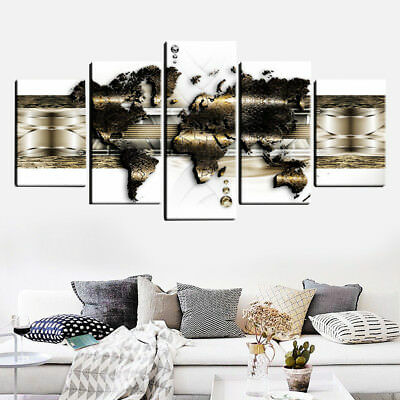 5 Panels Old World Map Canvas Print Pictures Canvas Wall Art Prints Unframed