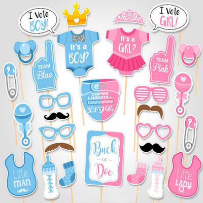 30pcs Baby Shower I Vote Boy or Girl Photo Booth Props Party Decorations New
