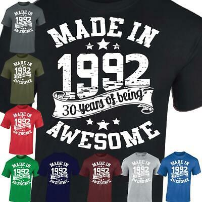 30th Birthday Gift Made In 1989 Being Awesome 30 Years Mens Ladies Casual Tshirt