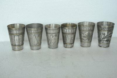 6 Pc Old Brass Handcrafted Inlay Engraved Small Lassi/Milk Glasses