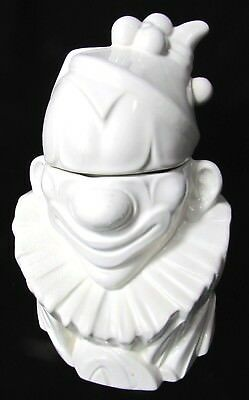 Vintage 1940s All White McCoy Pottery Clown Cookie Jar