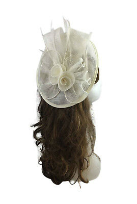 Large Royal Ascot Ladies Day Race Off White Fascinator Wedding Hat Headband Clip