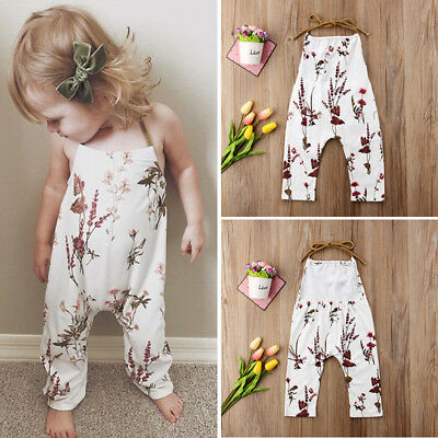 Summer Newborn Kids Baby Girl Floral Strap Cotton Romper Jumpsuit Outfit Clothes