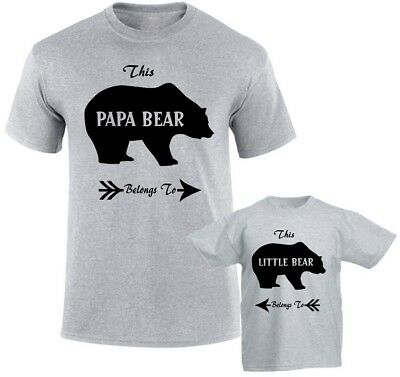 Mum Dad Son Daughter Novelty Funny Kids Gift Big /& Little Bear Duo T-Shirts
