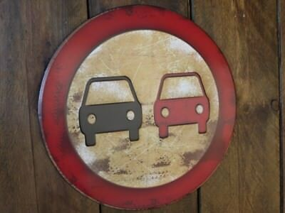 NO OVERTAKING Road Safety Signs Emboss Metal Rust Wall Plaque Traffic Warning