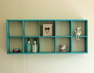 Vintage Wooden Wall Shelves Storage Display Decor Shelf Distressed White
