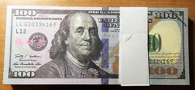 New 100pcs 100 Dollars Novelty Play Money Trainning Bills Banknotes Actual Size