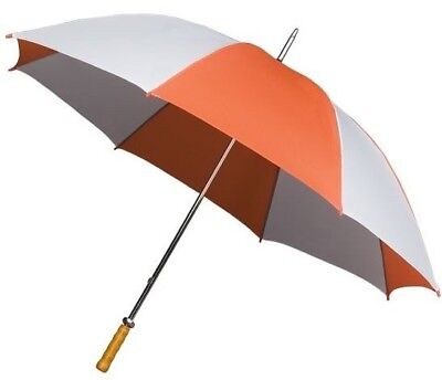 Large Golf Umbrella with Double Ribs & Wooden Handle - Twin Colours Orange White