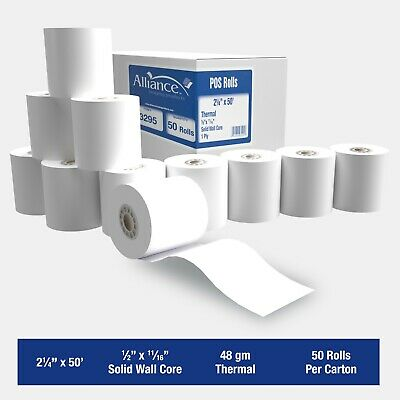 "Alliance Thermal Paper Receipt Rolls 2-1/4"" x 50' Thermal POS Rolls - 50 Rolls"