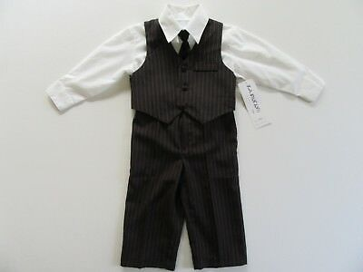 Kenneth Cole Boys 4 PC Dress Outfit Pants Vest Shirt Tie Black Red Gray Dressy