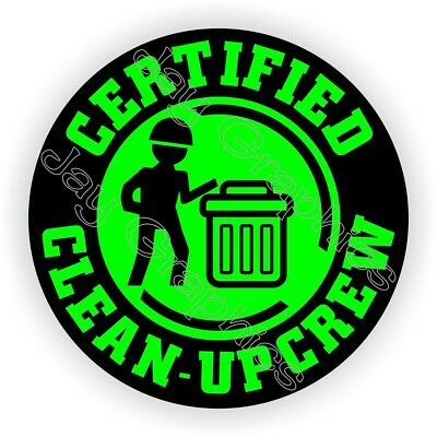 Hard Hat Sticker | FUNNY CLEAN-UP CREW | Helmet Decals Stickers Labels Foreman