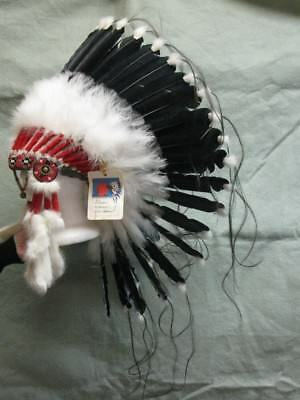 Native American Navajo Indian Eagle Feather and Ermine headdress War Bonnet
