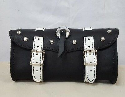 """Handmade Black Leather 11"""" Motorcycle Tool Bag w/ White Straps, Studs & Concho"""