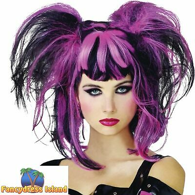 Punk Pixie Black & Pink Ponytails Wig Halloween Womens Fancy Dress Costume