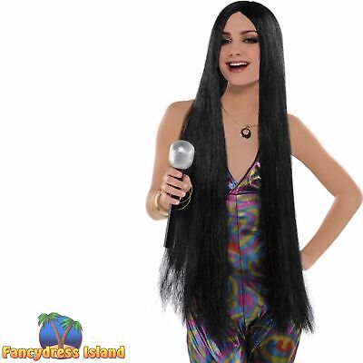 70's 1970s Disco Fever Turn Back Time Wig Cher Adult Womens Fancy Dress Costume