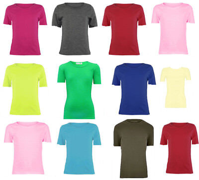 KCST Girls Boys Plain Cap-Sleeve Viscose Crew Uniform Jumper T-Shirt Tops
