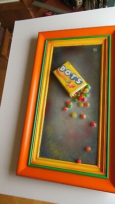 "POP CULTURE ""DOTS CANDY"" FRAMED ART art deco vintage frame, movie theater art"