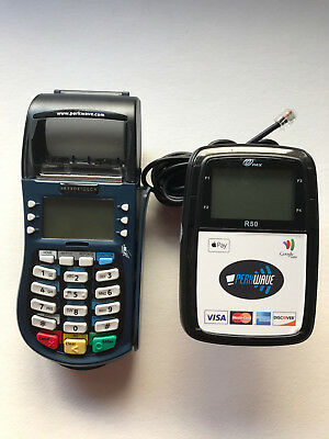 Hypercom Equinox T4220 Credit Card Machine w/ PAX R50 Contactless Reader LCD