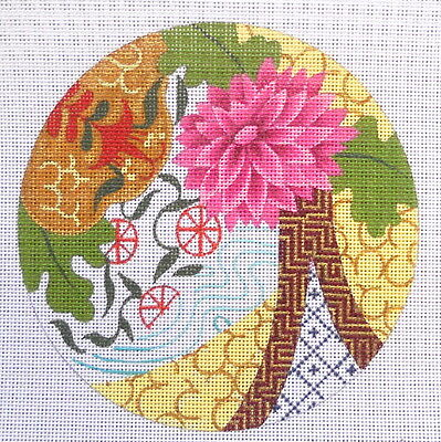 Handpainted Needlepoint Canvas Leigh Meditating Mum with S Arthur Stitch Guide