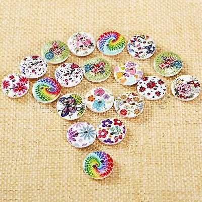 50Pcs Flower Pattern Wooden Buttons Sewing Knitting Craft Cardmaking 15mm 2 Hole