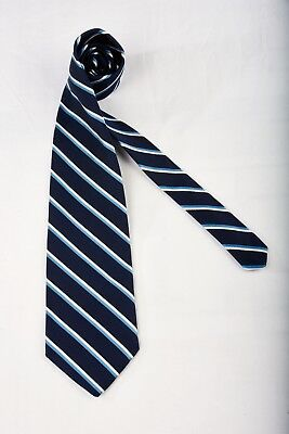 BROOKS BROTHERS Tie in Blue White Stripes on Navy Blue Classic Repp Silk