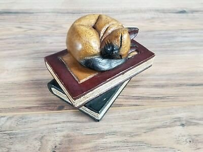 Vintage Hand Carved Wooden curled up cat on a stack of Books shelf decor