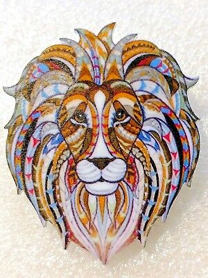 Lion Head Leo Astrology Zodiac Large Multicolor Acrylic Pin Brooch Jewelry