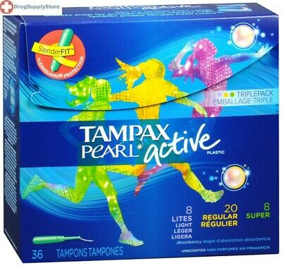 Tampax Pearl Active Triple Unscented Plastic Tampon Variety Pack, 34 Count