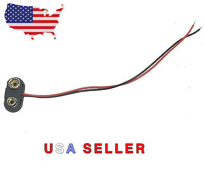 9V T Battery Clip/Volts/Connector/Snap On/Power/Leads 150mm/Adapter/Hard Shell