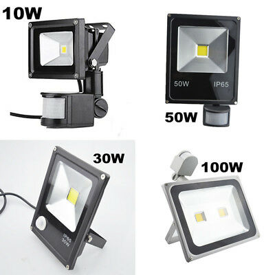 10W 30W 50W 100W LED Flood Light PIR Motion Sensor Outdoor Building Floodlight