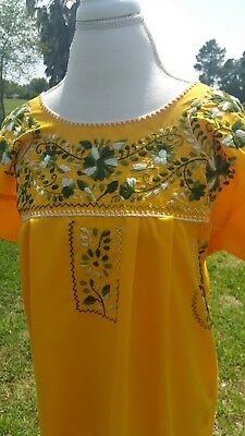 Mexican  Hand Embroidered Ladies Yellow Dress Size M