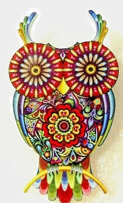 Owl Large Multicolor Floral Acrylic Pin Brooch Jewelry