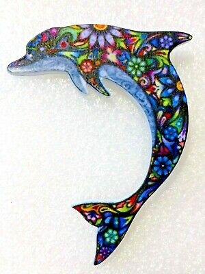 Dolphin Porpoise Large Multicolor Floral Acrylic Pin Brooch Jewelry