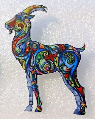 Goat Capricorn Astrology Zodiac Large Multicolor Acrylic Pin Brooch Jewelry