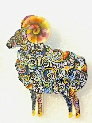 Ram Standing Aries Astrology Zodiac Large Multicolor Acrylic Pin Brooch Jewelry