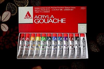 Holbein Acryla Gouache 12 Colors Set 20ml tube D410 Free Standard Shipping Japan