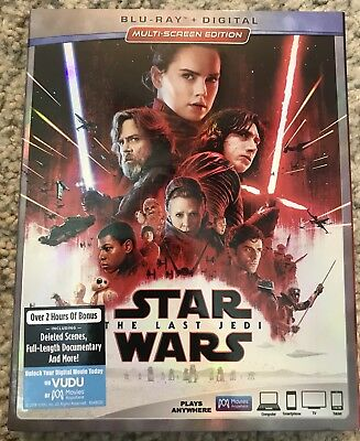 Disney Star Wars The Last Jedi Blu Ray 2 Disc Set With Slipcover Sleeve Viii