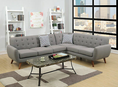 MODERN 2-PCS SECTIONAL Sofa Set Grey Polyfiber Accent Tufted Back ...