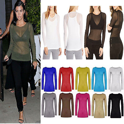 Women Top Ladies Sheer Mesh Fish Net Long Sleeve Scoop Neck T-Shirt UK Size 8-22