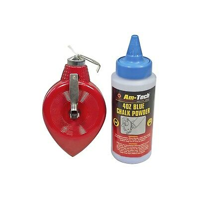Chalk Line And Powder - Reel Blue Marking Straight Builders Measuring 100ft 4oz