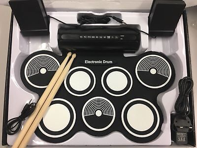 New Electronic  Drum 7 Pad Portable Stick Drum Pad Kits Foldable Musical Gear