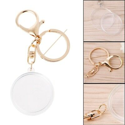 Clear Acrylic Coin Capsule With Pad Ring Keychain Keyring Holder For 27mm 30mm