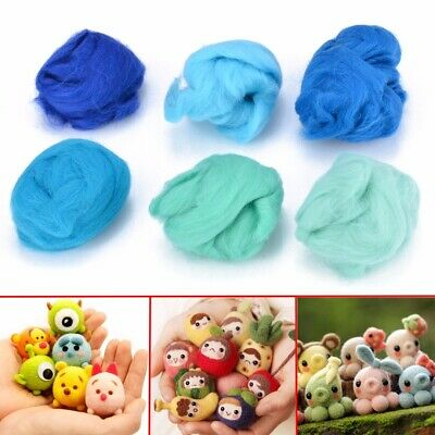 60g 6 Types Wool Oceanic Blue Shades Dyed Wool Tops Roving For Needle Felting
